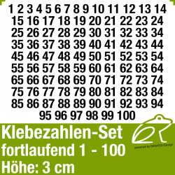 Klebezahlen-Set fortlaufend 1-100 H.3cm