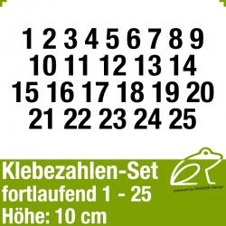 Klebezahlen-Set fortlaufend 1-25 H.10cm