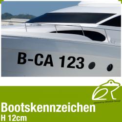 Amtliches Bootskennzeichen Höhe 12 cm