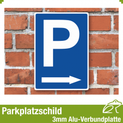 Parkplatzschild mit Pfeil rechts