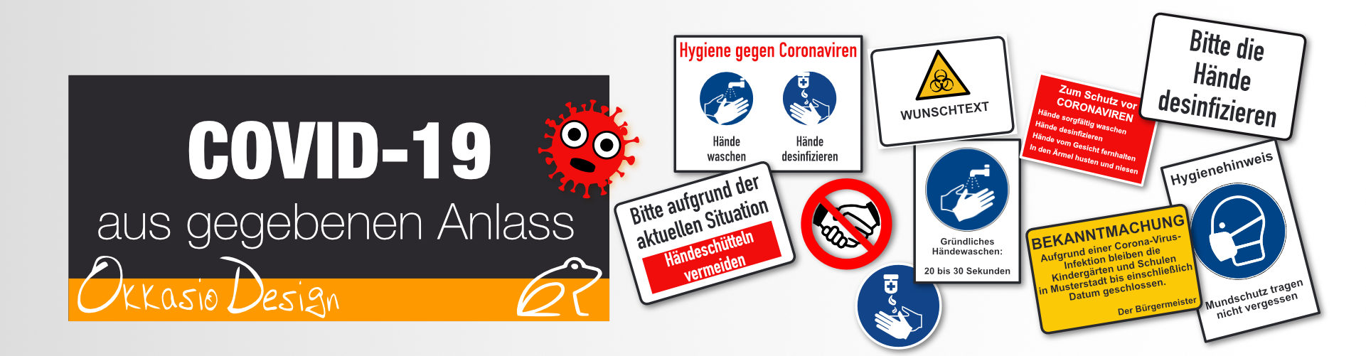 Hinweisaufkler, Hinweisschilder zur Information über Hygiene und Schutzmaßnahmen